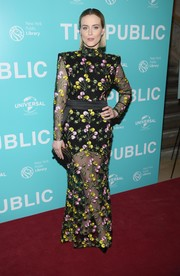 Taylor Schilling flashed some skin in a sheer, floral-embroidered gown by Zhivago at the New York premiere of 'The Public.'