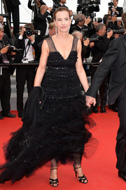 Carole Bouquet was all dolled up in a tiered black tulle gown during the premiere of 'The Search.'