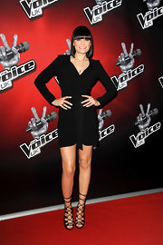 Jessie J stuck to a basic with this little black dress with long sleeves and cinched waist.