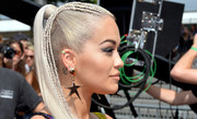 Rita Ora looked funky wearing this tight, high ponytail with some braided strands during the 'X Factor' London auditions.