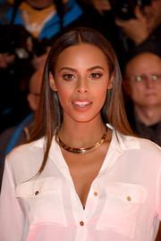 Rochelle Humes wore her hair sleek straight with a center part during the 'X Factor' press launch.