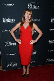 Jane Seymour attended TheWrap's 2018 Women, Whiskey and Wisdom Celebrating Oscar Nominees wearing a bright red midi dress.