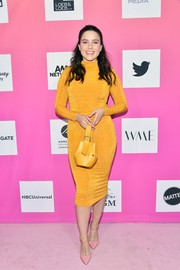 Sophia Bush coordinated her frock with a yellow leather purse by ADEAM.
