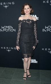 Geena Davis was classic and elegant in a black off-the-shoulder lace dress by Romona Keveza at the 'Thelma & Louise' Women in Motion screening.