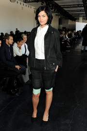 Leigh Lezark looked tough-chic in a baggy black leather jacket during the Theory fashion show.
