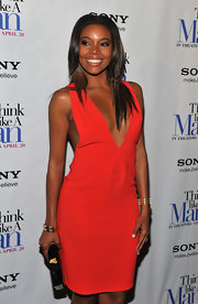 Gabrielle Union looked saucy in this deep-v cocktail dress at the 'Think Like a Man' screening.