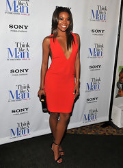 Gabrielle Union arrived at a screening of 'Think Like a Man' wearing a sexy pair of strappy sandals featuring wedges studded with sprakly rhinestones.