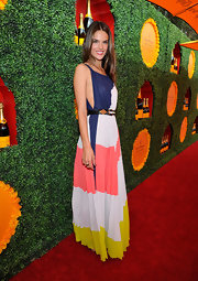 Alessandra looked so colorful in her striped maxi-dress at the Polo Classic in LA.