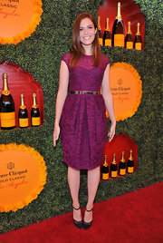 Mandy Moore was a beauty in this rich fuchsia dress at the Polo Classic in LA.