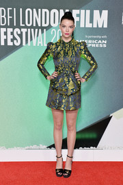 Anya Taylor-Joy looked refined in a Gucci floral jacquard dress with oversized bow detail at the BFI London Film Festival premiere of 'Thoroughbreds.'