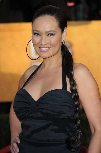 Tia Carrere Long Braided Hairstyle [hair,hairstyle,beauty,lady,long hair,black hair,smile,dress,little black dress,brown hair,arrivals,tia carrere,california,los angeles,shrine auditorium,screen actors guild awards]