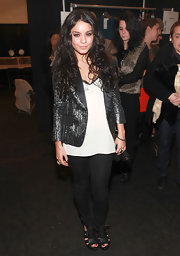 Vanessa Hudgens was spotted backstage at the Tibi show in black skinny jeans.