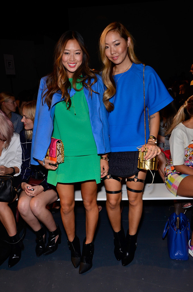 Fashion bloggers Aimee Song and Dani Song attend the Tibi fashion show during Mercedes-Benz Fashion Week Spring 2014 at Pier 59 on September 7, 2013 in New York City.