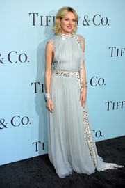 Naomi Watts went for demure elegance in an embellished baby-blue Prada gown at the Tiffany & Co. Blue Book Gala.