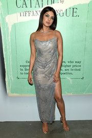 Priyanka Chopra complemented her dress with trendy PVC sandals.
