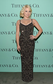 Megan Hilty chose a beaded Art Deco gown for her sparkly red carpet look at the Tiffany's Blue Book Ball in NYC.