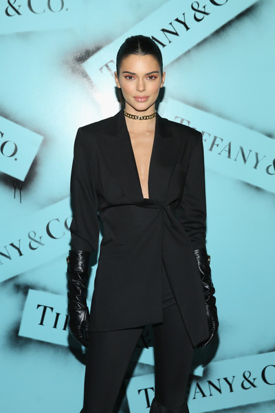 More Pics of Kendall Jenner Leather Gloves (1 of 4) - Kendall Jenner Lookbook - StyleBistro [suit,clothing,pantsuit,fashion,formal wear,hairstyle,fashion design,human,white-collar worker,tuxedo,kendall jenner,new york city,tiffany co,love photography exhibition]