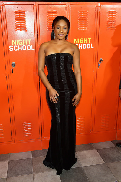Tiffany Haddish Strapless Dress [night school,clothing,dress,orange,strapless dress,shoulder,fashion,waist,formal wear,haute couture,fashion design,arrivals,tiffany haddish,california,los angeles,universal pictures,premiere,premiere]