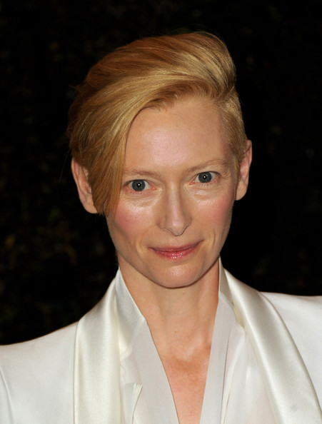 Tilda Swinton Short Side Part [hair,face,hairstyle,eyebrow,blond,chin,forehead,lip,beauty,smile,tilda swinton,california,los angeles,hollywood highland grand ballroom,academy of motion picture arts and sciences,3rd annual governors awards]