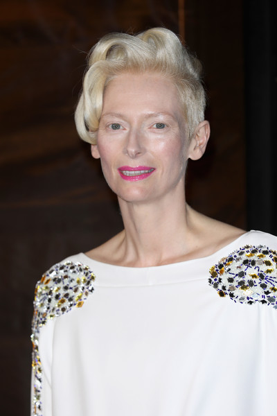 Tilda Swinton Short Wavy Cut [hair,face,hairstyle,blond,beauty,eyebrow,shoulder,fashion,chin,lip,the guildhall,london,england,bfi luminous fundraising gala,tilda swinton]