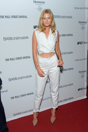 Toni Garrn turned heads at the 'Time Out of Mind' premiere wearing this distressed-chic white cutout jumpsuit.