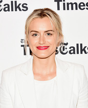 Taylor Schilling opted for a disheveled updo when she attended TimesTalks.