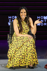 Padma Lakshmi attended the Women in the World Summit wearing a brightly colored maxi dress.