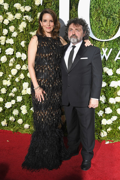 Tina Fey Mermaid Gown [flooring,carpet,formal wear,lady,red carpet,fashion,dress,suit,little black dress,gown,arrivals,tina fey,jeff richmond,new york city,radio city music hall,l,tony awards]