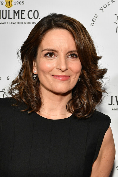 Tina Fey Medium Curls [beauty,hairstyle,chin,shoulder,fashion model,long hair,layered hair,brown hair,hair coloring,smile,tina fey,honoree,pier sixty,new york city,chelsea piers,new york stage film winter gala]