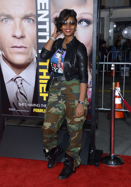Toccara Jones Combat Boots [identity theft,camouflage,fashion,eyewear,carpet,red carpet,military uniform,military camouflage,fashion design,premiere,arrivals,toccara jones,california,universal pictures,westwood,premiere,premiere]