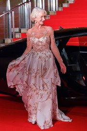 Helen Mirren made a grand entrance at the Tokyo International Film Festival wearing this queen-worthy Badgley Mischka gown.