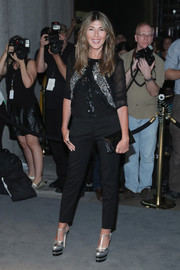 T-strap platform pumps by Gucci completed Nina Garcia's perfectly coordinated attire.