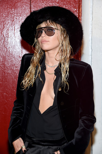 More Pics of Miley Cyrus Fur Hat (2 of 14) - Winter Hats Lookbook - StyleBistro [eyewear,hair,clothing,cool,sunglasses,hat,glasses,long hair,headgear,black hair,arrivals,tom ford - arrivals,tom ford,miley cyrus,new york city,new york fashion week]