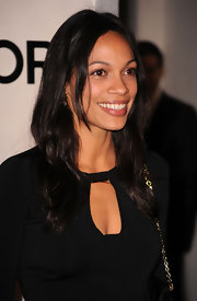 Rosario Dawson opted for long wavy locks at the store opening of Tom Ford.