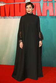 Kristin Scott Thomas made a grand entrance in a flowing black Valentino gown at the European premiere of 'Tomb Raider.'