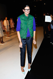 Jenna Lyons was a bit formal down below in iridescent blue slacks.