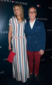 Tommy Hilfiger sported his signature red, white and blue while attending the LA flapship opening party.