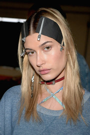 Hailey Baldwin donned a cute red leather choker for the Tommy Hilfiger Spring 2017 show.