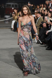 Gigi Hadid showed off a summer-chic patchwork-print maxi dress at the Tommy Hilfiger fashion show.
