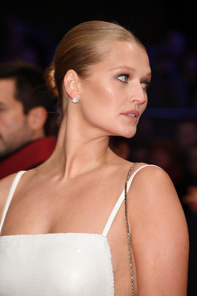 Toni Garrn Classic Bun [hair,fashion,hairstyle,beauty,shoulder,eyebrow,lip,skin,blond,chin,toni garrn,berlinale palace,berlin,germany,opening ceremony isle of dogs,red carpet,berlinale international film festival,premiere,berlinale international film festival berlin]