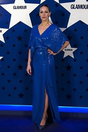 Eva Gonzales arrived at the Glamour Women of the Year Awards in her sequined floor-length wrap dress.