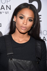 Ciara opted for a casual center-parted hairstyle when she attended the Topman New York City flagship opening dinner.