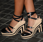 Solange Knowles showed off her quirky style at the Topshop Topman LA opening with sixties-inspired platforms.
