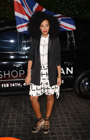 Solange Knowles' silk cross-print shorts are airy and loose, giving the star an almost retro, mod look.