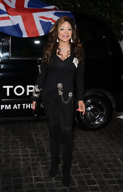 La Toya Jackson spiced up her all-black look with an embellished blazer at the Topshop Topman LA opening party.