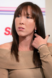 Jelena Jankovic wore her hair sleek and straight with bangs at the Toray Pan Pacific Open press conference.