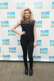 Tori Kelly rocked black skinny jeans to match her rocker look while appearing on ' The Elvis Duran Show.'