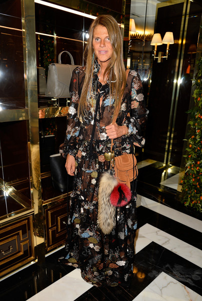 Anna dello Russo paired her gown with a camel-colored suede shoulder bag.