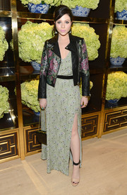Michelle Trachtenberg was rocker-glam in a floral-print leather jacket layered over a maxi dress during the Tory Burch Rodeo Drive opening.