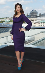 Kate's purple bell-sleeved dress had a regal Renaissance vibe at the 'Total Recall' photocall.